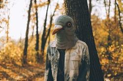 Weird man in a creepy rubber pigeon bird mask in the autumn sunset forest