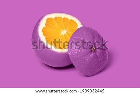 Weird purple sliced orange isolated on a pink background Photo stock ©