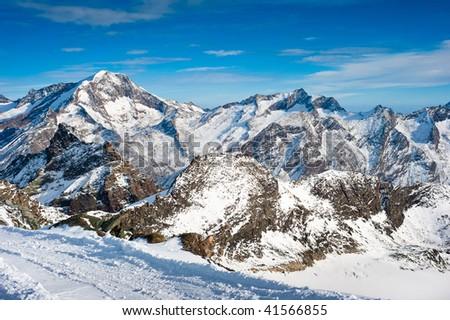 Weissmies mountain peak at Saas Fee in Winter, Wallis, Switzerland