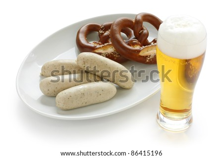 weisswurst, pretzel and beer , german oktoberfest food - stock photo