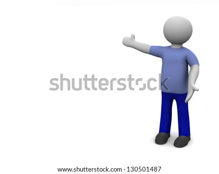 Welcome. 3d man  welcoming with open arms on white background. The space for your text or image