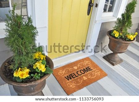 Welcome door Mat Isolated on a White Background Placed outside door