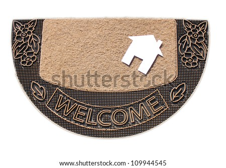 welcome doormat carpet isolated on white.