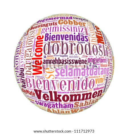 Welcome globe concept word in many languages of the world.