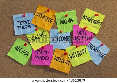 welcome in a dozen of languages (Finnish, Slovak, Tahitian, Italian, Latin, English, German, Hawaiian, Portuguese, Dutch, Polish, French) - cloud of colorful sticky notes on cork bulletin board