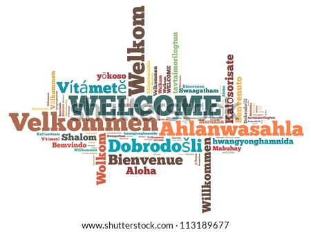 welcome info-text graphics and arrangement concept on white background (word cloud)