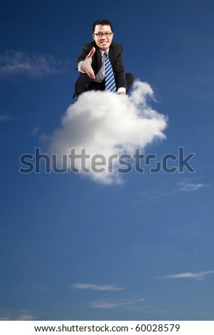 welcome join cloud business .businessman welcoming handshake on the cloud