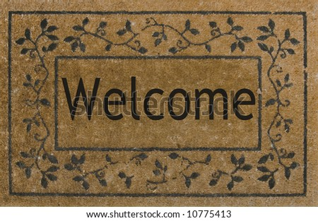 Welcome mat on ground