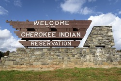 Welcome sign of Cherokee National Forest during the fall