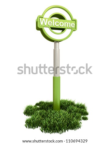 Welcome Sign on Grass