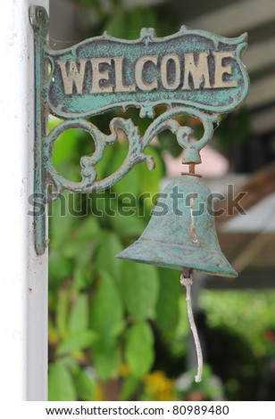 Welcome Sign on Vintage Label.