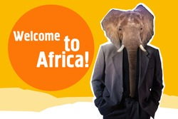 Welcome to Africa illustration. Elephant as symbol of African continent. Man with an elephant face as metaphor for Africa. Elephant with human body in suit. Orange collage on African travel theme.