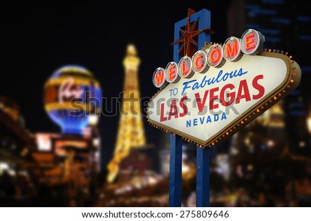 Welcome to Fabulous Las Vegas Neon Sign. Intentional Blurred Las Vegas Strip In Background #275809646