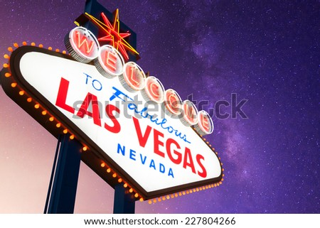Welcome to Fabulous Las Vegas Neon Sign With Galaxy in the Background
