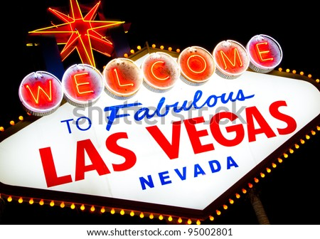 Welcome to fabulous Las Vegas sign at night