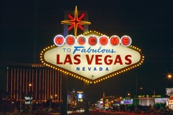 Welcome to Fabulous Las Vegas sign at night in Nevada, USA