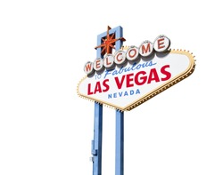 Welcome to Fabulous Las Vegas sign isolated with clipping path.