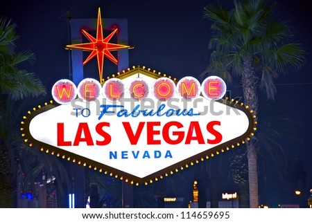 Welcome to Fabulous Las Vegas - Vegas Welcome Sign at Night. Las Vegas, Nevada. - stock photo