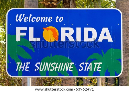 Welcome To Florida Sign - stock photo