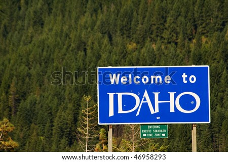 Welcome to Idaho sign on Interstate I-90