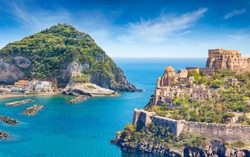 Welcome to Ischia, Italy concept. Collage with famous attractions of Ischia Island - Aragonese Castle, green mountain near fishing village Sant'Angelo and clear azure sea.