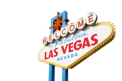 Welcome to Las Vegas Neon Light Sign Isolated on White with Clipping Path