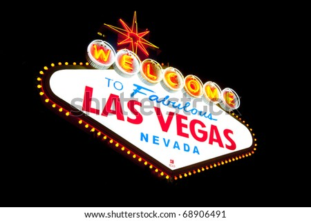 welcome to las vegas sign at night. las vegas sign at night. stock