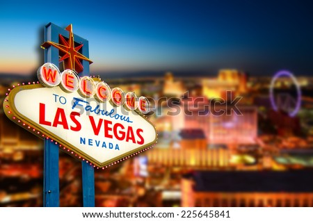 Welcome to Never Sleep city Las Vegas, Nevada Sign with the heart of Las Vegas scene in the background. (all logo had been removed).  #225645841