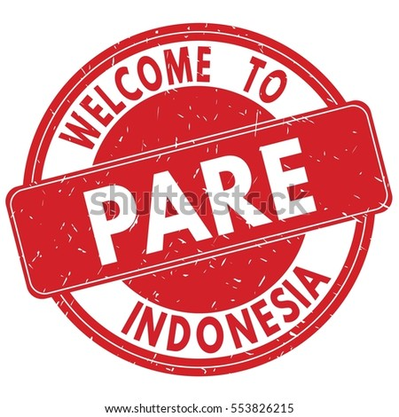 Shutterstock Welcome to PARE  INDONESIA stamp sign text logo red.