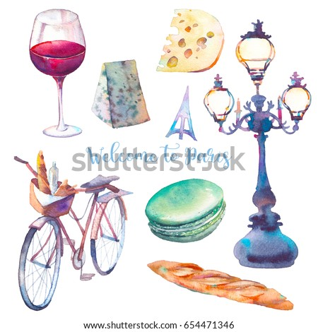 Welcome to Paris. Watercolor Paris set. Hand drawn elements isolated on white background: street lantern, bicycle, macaroon, cheese, red wine glass, baguette.