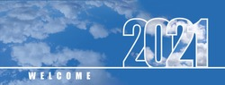Welcome to the New year 2021. Large numbers with a white cloud texture on the sky background. New year's holiday concept, copyspace, banner.
