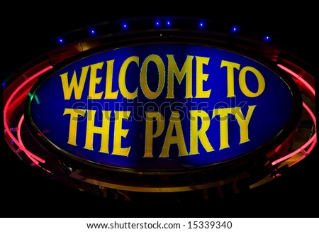 Welcome to the party - neon lights in casino - stock photo