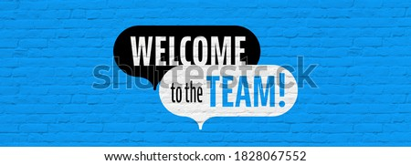 Welcome to the team on blue background Stock photo ©