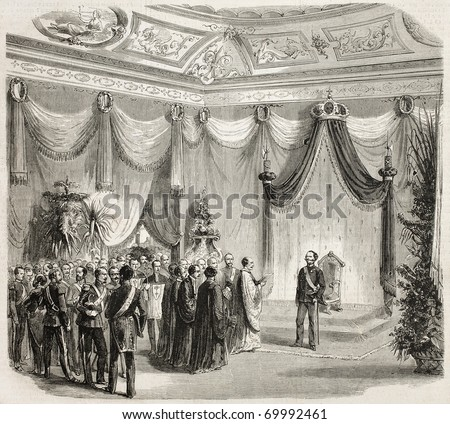 Welcome to Victor Emmanuel II in Florence by the Gonfaloniere. Original, from drawing of Lhernault, after sketch of Sanesi, was published on L'Illustration, Journal Universel, Paris, 1860