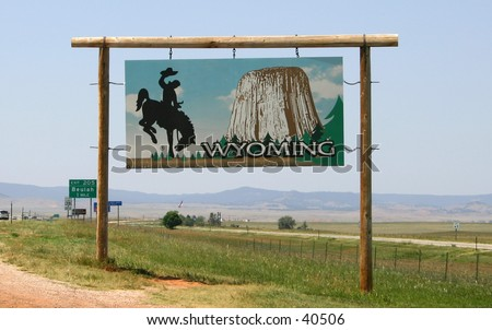 Welcome to Wyoming sign by the highway