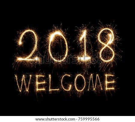 welcome 2018 written with Sparkle firework #759995566