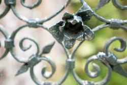 welded iron metallic design flower detail closeup