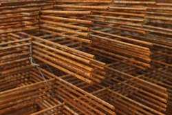 welded wire mesh, grating, reinforcement for concrete pouring. Selective focus