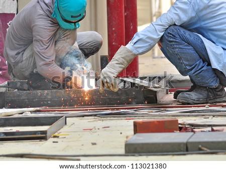welder in construction site