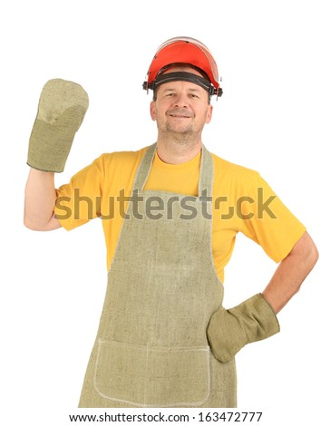 Welder in gloves and apron. Isolated on a white background.