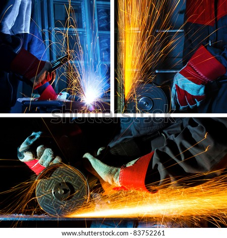 welding and grinding iron collage