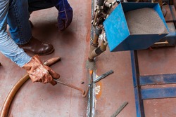 Welding hard surfacing of tank bottom plate steel roll by submerged arc welding process
