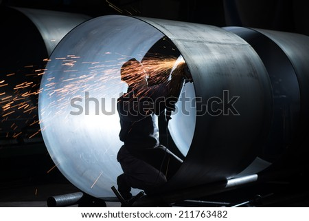 welding in the steel tube