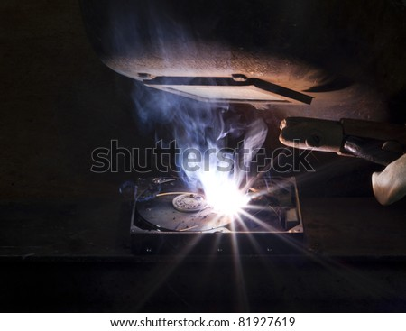 welding on a hard drive with a electrode. Nice light at the welding shield