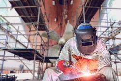 Welding process ship repair at floating dry dock in shipyard