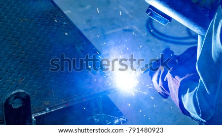 Welding with sparks by Process fluxed cored arc welding , Welding by Welder Thailand
