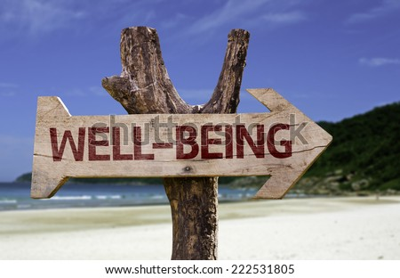 Well-Being wooden sign with a beach on background #222531805