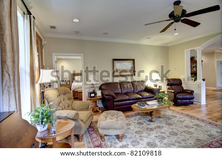 Well decorated living room in nice house stock photo for Well decorated living rooms