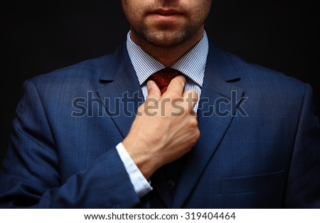 Well dressed business man adjusting his neck tie #319404464