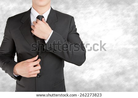 Well dressed businessman looklike smart adjusting  his neck tie on  background : fill text